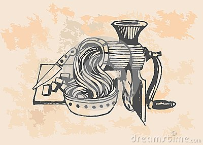 Iron Meat Grinder, retro illustration