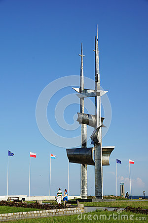 Iron monument in Gdynia Editorial Stock Photo