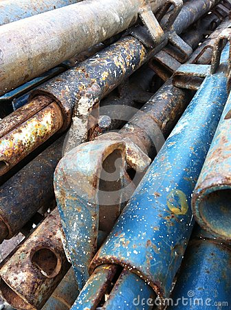 Iron pipes in construction site