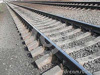 Iron rails. Railway