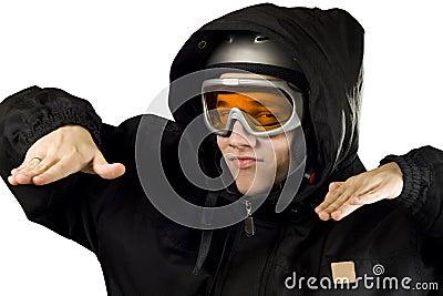 Ironic boy snowboarding