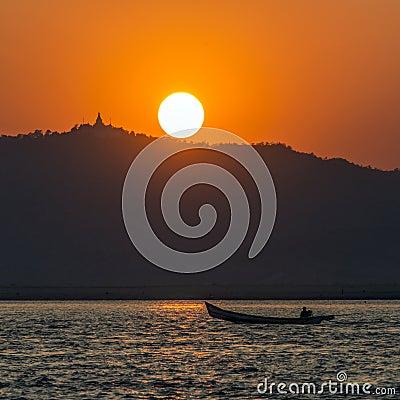Free Irrawaddy River Sunset - Myanmar (Burma) Stock Photography - 29843252