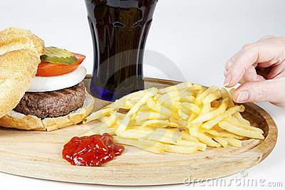 Irresistible burger with fries