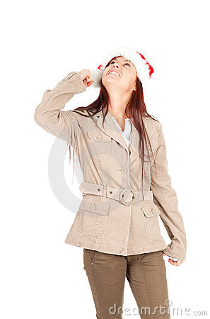 Irritated young woman in red Christmas hat