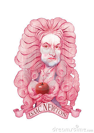Isaac Newton Caricature illustration Editorial Stock Image