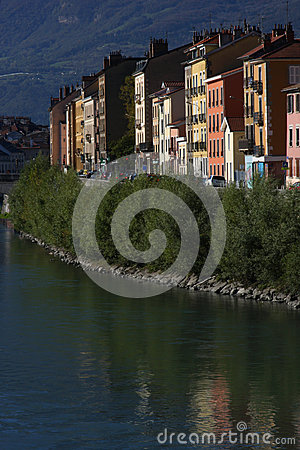 Isere river quay in Grenoble