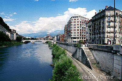 Isere River View in Grenoble France