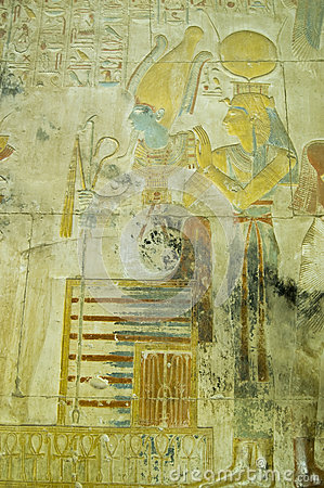 Isis and Osiris ancient carving, Abydos