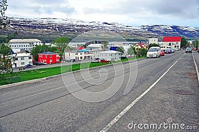 Isländsk stadsgata Redaktionell Foto