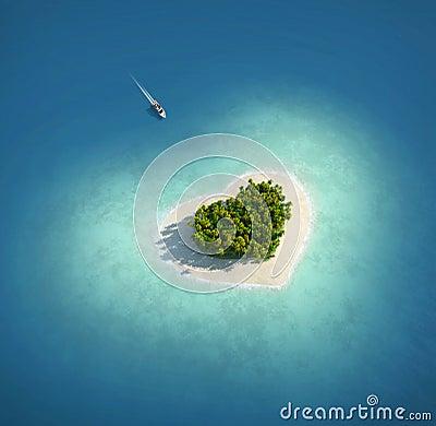 Isla del paraíso bajo la forma de corazón
