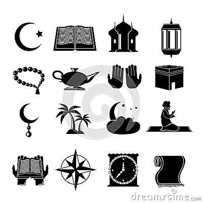 Free Islam Icons Set Black Stock Image - 44813421