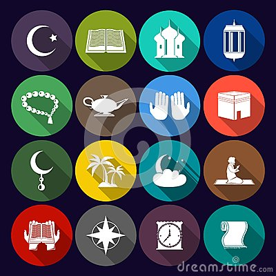 Free Islam Icons Set Flat Stock Photography - 43956572