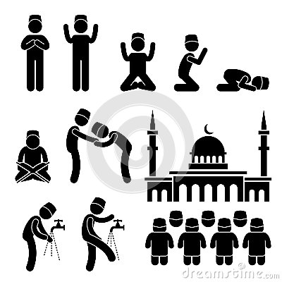 Islam Muslim Religion Culture Stick Figure Pictogr