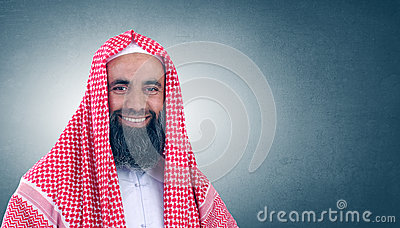 Islamic Arabian Sheikh with beard smiling