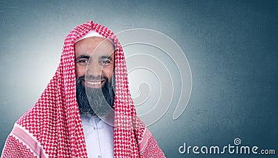 Islamic Arabian Sheikh with beard smiling