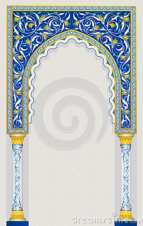Free Islamic Arch Design In Classic Blue Color Royalty Free Stock Photo - 30376165