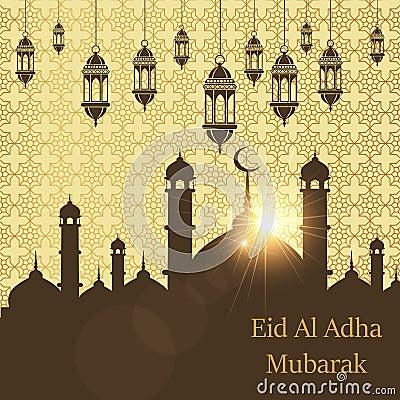 Islamic Festival of Sacrifice, Eid Al Adha Mubarak Greeting Card. Vector background Vector Illustration