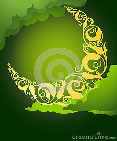 Islamic Floral Crescent Moon Royalty Free Stock ...