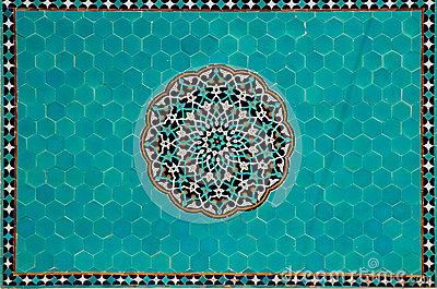 Islamic mosaic with blue tiles
