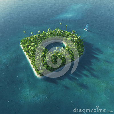 Island Alphabet. Paradise tropical island in the form of letter D