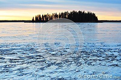Island and ice lake
