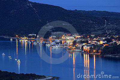 Island of Ilovik blue hour view