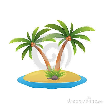 Free Island Logo - Tropical Palm Trees With Sea Waves Vector Illustration  White Background Stock Photo - 83445550