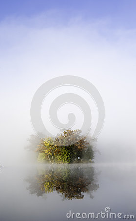 Island in the morning fog