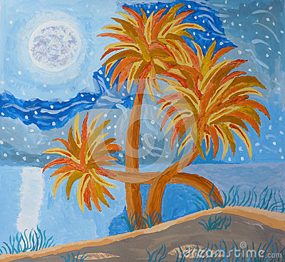 Island Night Hand Painting