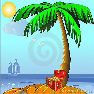 Island with palm and coffer with gold(en)