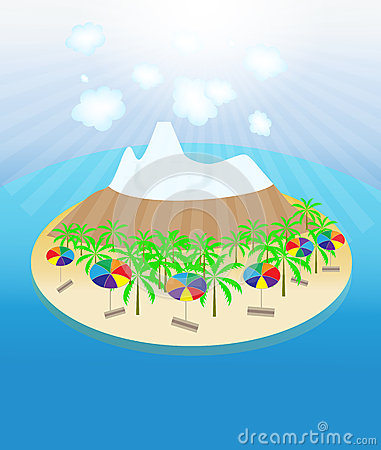 Island, palm trees, sun, umbrellas seamless