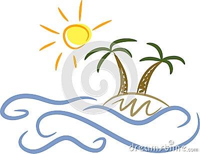 Island, palm trees and sunshine