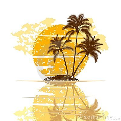 Island with palm trees on a white background