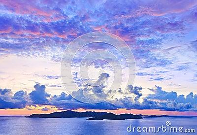 Island Praslin at sunset