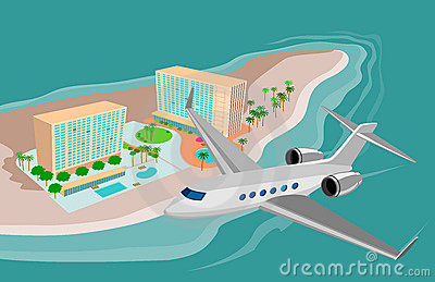 Island resort and airplane