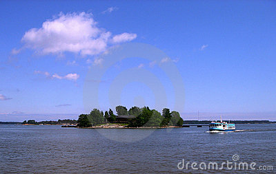 Island and ship