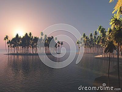 Island in the sunrise