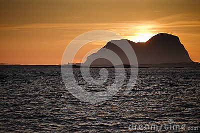 Island in sunset