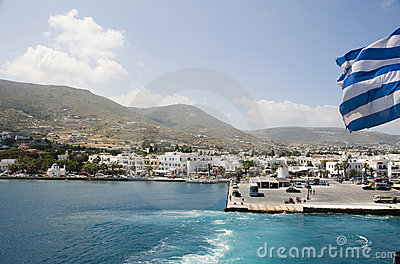 Island view of port of parikia paros greek islands