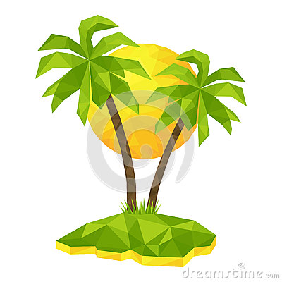 Free Island With Palm Trees And Sun Stock Photography - 75506352