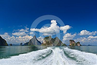 Islands in a Phang Nga Bay from boat