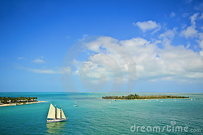Islands and Sailboat, Florida Keys