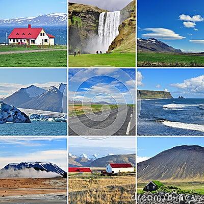 Islandzki krajobraz - kolaż