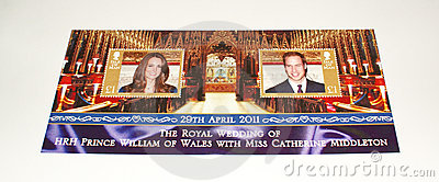 Isle of Man s stamp sheet on Royal Wedding 2011. Editorial Stock Photo