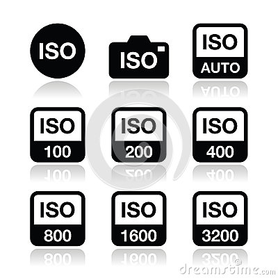 ISO - camera film speed standard icons set