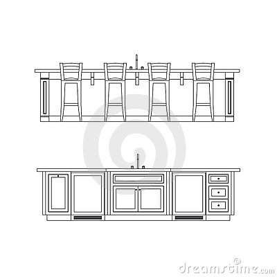 disegni a tratteggio di altezza dellisola di cucina