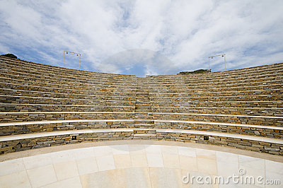 Isola greca Cicladi dell IOS del Amphitheater