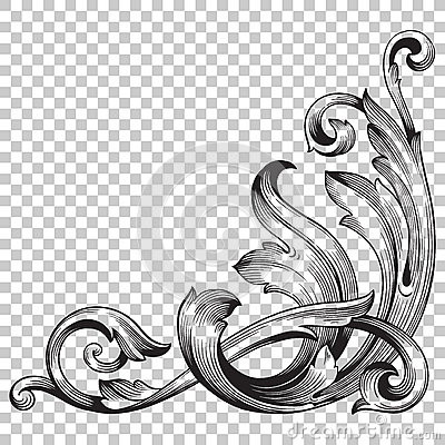 Free Isolate Corner Ornament In Baroque Style Stock Photography - 86568022