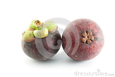 Isolate mangosteen on white background