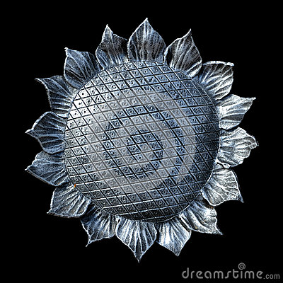 Isolate metal forged sunflower on a black background